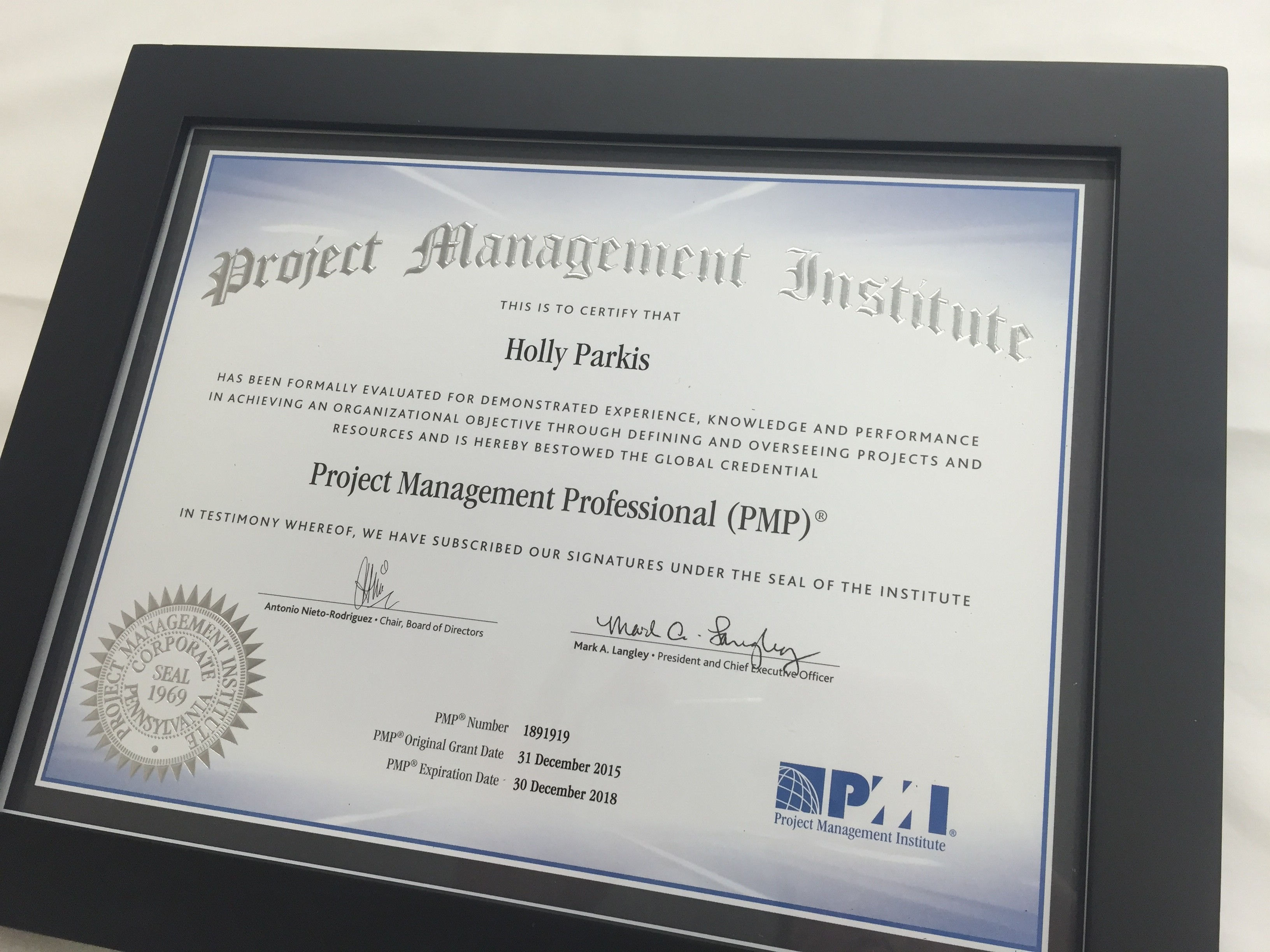 Congratulations to Holly Parkis on her PMP